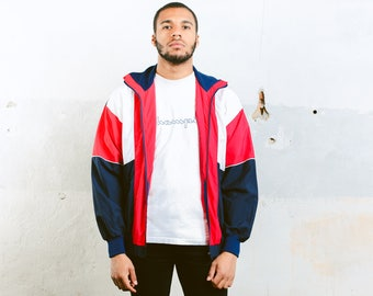 Vintage Shell Jacket . 90s Sports Jacket Mens Festival Jacket 90s Spring Jacket Windbreaker Short Coat Outerwear Track Jacket . size Medium
