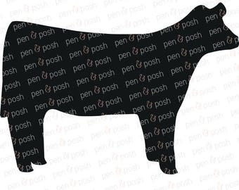 Show Heifer SVG - Show Cattle SVG - Cow SVG - Heifer Clipart - Cow Art - 4H Heifer - Ffa Heifer - Silhouette, Cricut