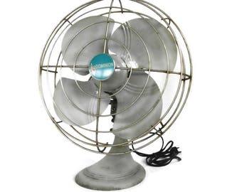 Vintage Dominion Fan. Grey Dominion #5210 Fan. Old Electric Oscillating Fan. Gray Industrial Working Table Fan. Heavy Cast Iron Base Fan