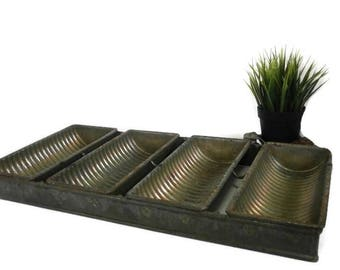 Vintage Industrial Loaf Pans | 4 Old Commercial Connected Bread Pans | Round Ridged Long Narrow Bins | Metal Storage Display | Wedding Decor