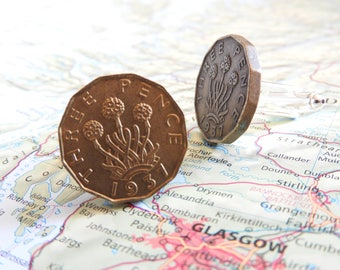 Great Britain 1937/1942 vintage coin cufflinks - made of vintage coins from GReat Britain - birth year - wedding gift - best man