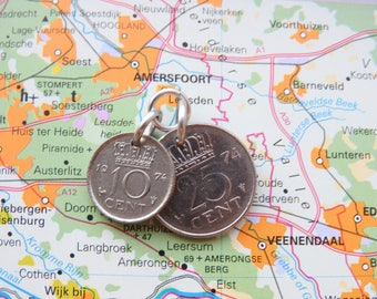 Netherlands coin pendant in birth year incl necklace 1948 - 1950 - 1951 - 1952 - 1953 - 1954 - 1955 - 1956 - 1957 - 1958 - 1959
