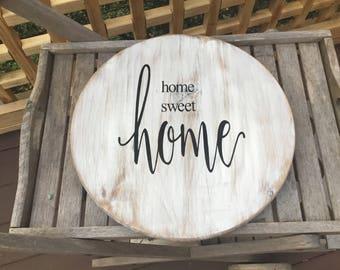 Home sweet home,Custom Lazy Susan,Farmhouse decor,Shabby chic turntable,kitchen decor,wood centerpiece,farmhouse turntable