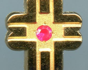 Cross Design Tie Tack with Red Gemstone - Preowned