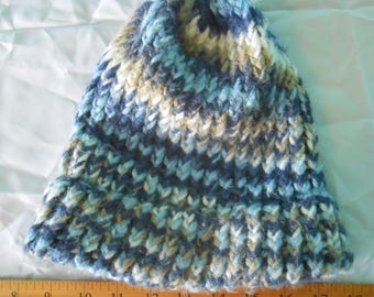 Multi-tonal blue, beige crochet toque hat