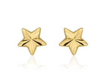 Solid Gold Studs, Star Studs, 14K Yellow Gold Earrings, Baby Girl Earrings, Tiny Earrings, Baby Girl Gift