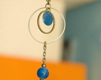 Blue necklace bronze color metal