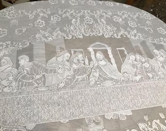 "Beautiful Vintage Lace Rectangle TableCloth White Lace Table Linen 116"" X 53"""