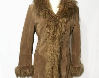 Suede Leather & Faux Fur Coat MIXIT Western Style Leather Stitching Size Large