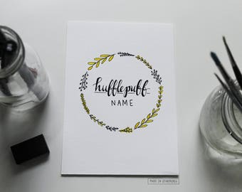 Watercolour Painting - Hufflepuff / Yellow, Black, Wreath, Harry Potter-Inspired + Personalised Name