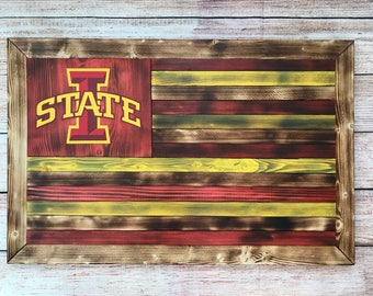 Iowa State University wooden flag wall hanging -- customizeable - 2 designs