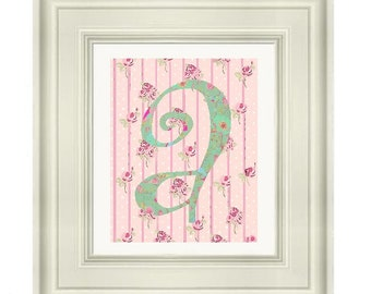 """Letter A: Shabby Chic I  8""""x10"""" Print"""
