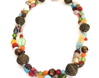 Bohemian Glass Colourful Statement Necklace, Boho Style  Necklace