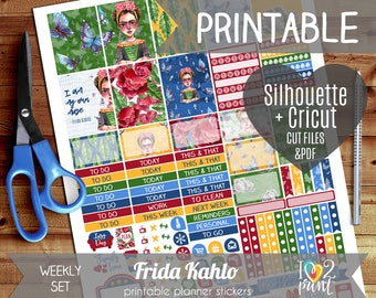 Frida Kahlo Weekly Printable Planner Stickers, EC Planner Stickers, Weekly Planner Stickers, Mermaid Stickers  - Cut files, Cricut files