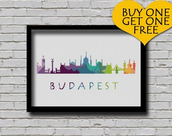 Cross Stitch Pattern Budapest Hungary Europe City Silhouette Watercolor Painting Effect Decor Embroidery Rainbow Color Skyline xstitch