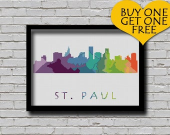 Cross Stitch Pattern St. Paul Minnesota City Silhouette Watercolor Painting Effect Modern Embroidery Usa City Skyline Xstitch