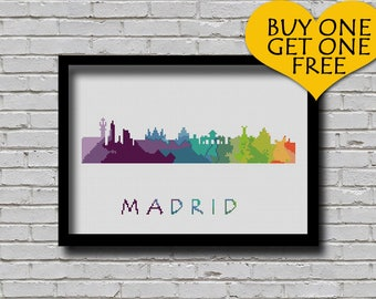 Cross Stitch Pattern Madrid Spain Silhouette Watercolor Effect Europe Cities Modern Design Embroidery Spain City Skyline Xstitch