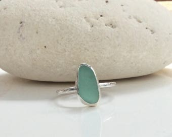 Turquoise Seaglass Ring, Sea Glass Ring, Seaglass Jewellery, Sea Glass Jewelry, Turquoise Ring, Seaglass Ring
