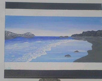 """Acrylic painting """"Quiet sea on gray sand"""" on canvas frame (40 x 50 cm)"""