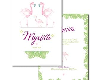 Birth announcement - watercolor illustration - family of flamingos - handmade - personalized - baby