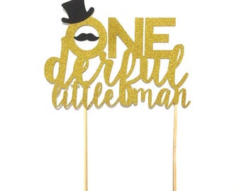 1 pc ONE Little Man script Gold Glitter Cake Topper mustache hat first Birthday boy Baby shower cake smash party