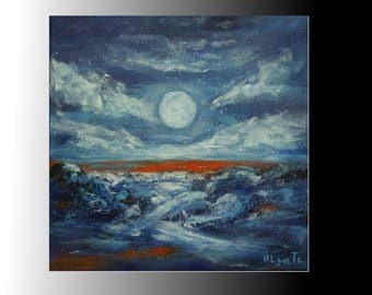 small art blue canvas art mens personalized gift brother gifts for birthday night art moon painting modern art abstract painting decor