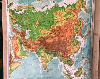 Vintage Denoyer-Geppert School Map Asia