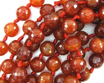 "14mm faceted carnelian round beads 7"" strand 9pcs 30169"