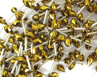 "6x12mm faceted quartz teardrop beads 15.5"" strand gold 30253"
