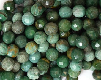 "10mm faceted green dragon blood jasper round beads 15.5"" strand 39786"