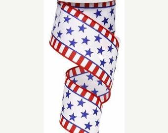 SALE 2.5 X 10yrds - Patriotic Ribbon, 4th of July Ribbon, Wired patriotic ribbon, wired ribbon, patriotic 4th of july ribbon, star ribbon