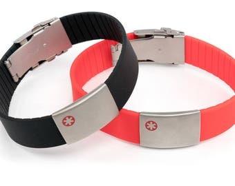 Medical bracelets, red cross bracelet, allergy bracelet in many colors,