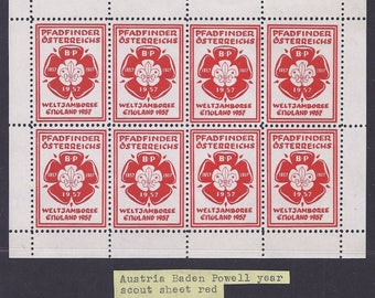 3 Austria Baden Powell Year Scout Sheetlets of 8 - unused Complete NH