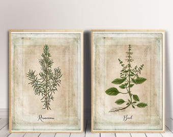 Herbs Print Set, Rustic Kitchen Decor Set, Kitchen Wall Decor, Herbs Decor, Herbs Wall Decor, Home Wall Decor Kitchen Wall Art Herbs Art