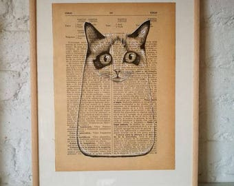 CATS No. 8. Printed drawing on recycled paper with highlights in black ink. 9,5x6,8in. Gift, Christmas, la petite illustration, cats
