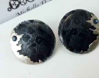 2.4cm 1980s black enamel abstract earrings, vintage earrings, statement earrings, black earrings, earrings, 1980s earrings, black studs
