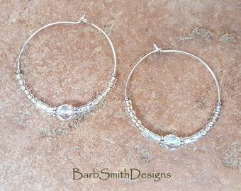 """Beaded Gold Silver Crystal Hoop Earrings, Large 1 3/8"""" Diameter in Gold n' Silver"""