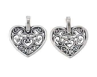 4 pieces small pendants (16x15mm) heart hollow antique silver Zinc Alloy
