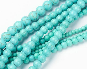 mix 100pieces diff sizes e, beads howlite (dyed natural) between 4 and 12mm, hole 1 mm