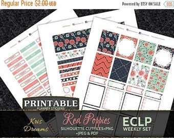 SALE 50% OFF Red Poppies Printable Planner Stickers Erin Condren Weekly Floral Flowers Pattern Red Orange Green Navy Blue Happy Planner Mamb