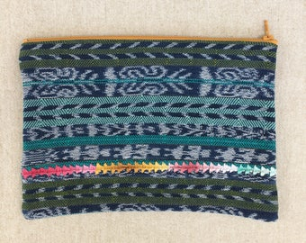 Beautiful and Bright Large Zippered Pouch made from a Hand Woven Corte from Guatemala - #107