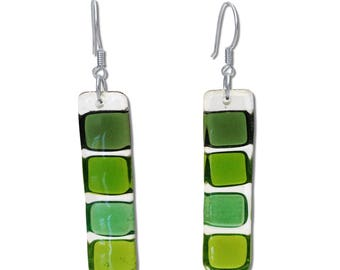 Fused Glass Squares Earrings in Green, Lime Green, and Green. Mod, Colorful, Fun Earrings, Geometric, long earrings. Summer Earrings