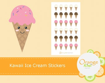 Kawaii Ice Cream Stickers, Ice Cream Cones, Ice Cream Stickers, Planner Stickers, Erin Condren Life Planner