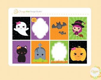 Kawaii Halloween Planner Stickers, Kawaii Halloween Stickers, Halloween Planner Stickers, Erin Condren Life Planner, Happy Planner