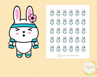 Fitness Stickers, Bunny Lifting Weights Stickers, Gym Stickers, Planner Stickers