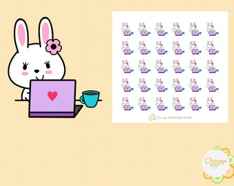 Work from Home Stickers, Blogging Stickers, Bunny Stickers, Planner Stickers