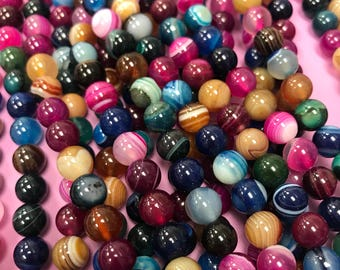 10mm Rainbow Agate Round,Multi Color Agate,Agate Round Beads,Multi Color Round Agate,Agate Beads,Agate Round,Multi Color Agates,Agate Stones
