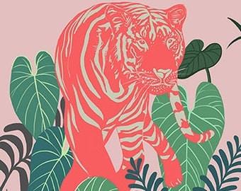 Aloha Tiger, animal, tiger,tropical, jungle art print