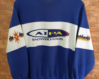 Vintage 90s Aipa Snowboard Big Logo Sweatshirt Pullover Jumper Blue M