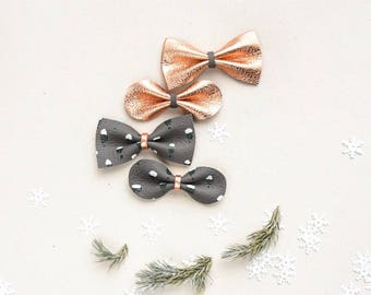 Christmas Bows Leather Hair Bow Crocodile Clip or Nylon Spring Headband, Copper Bow, Gray Bow, Holiday Bow Soft Nuetral Color Accessories